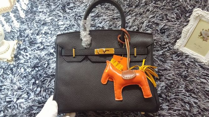 Hermes Birkin 30CM tote bags litchi leather H30 black