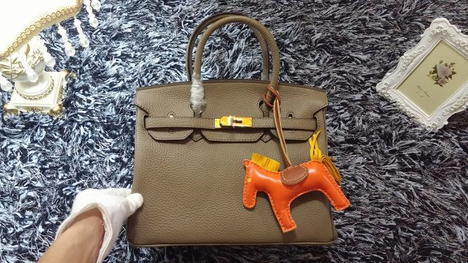 Hermes Birkin 30CM tote bags litchi leather H30 gray