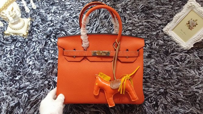 Hermes Birkin 30CM tote bags litchi leather H30 orange