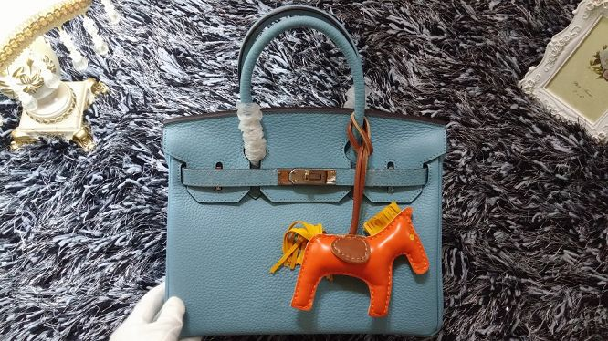 Hermes Birkin 30CM tote bags litchi leather H30 light blue