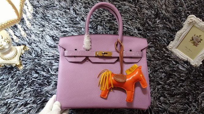 Hermes Birkin 30CM tote bags litchi leather H30 light purple