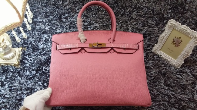 Hermes Birkin 35cm tote bag litchi leather H35 cherry