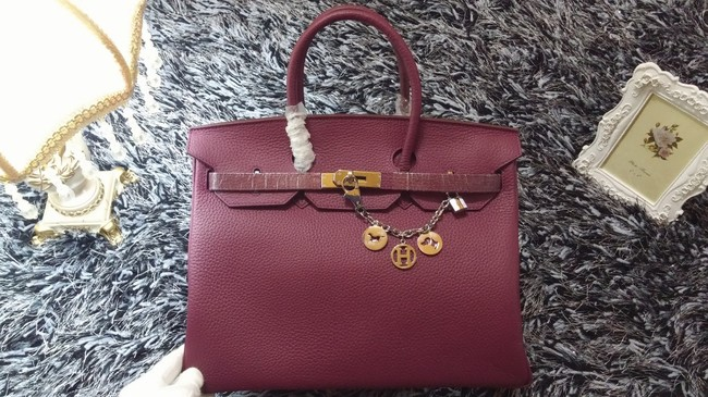 Hermes Birkin 35cm tote bag litchi leather H35 purple