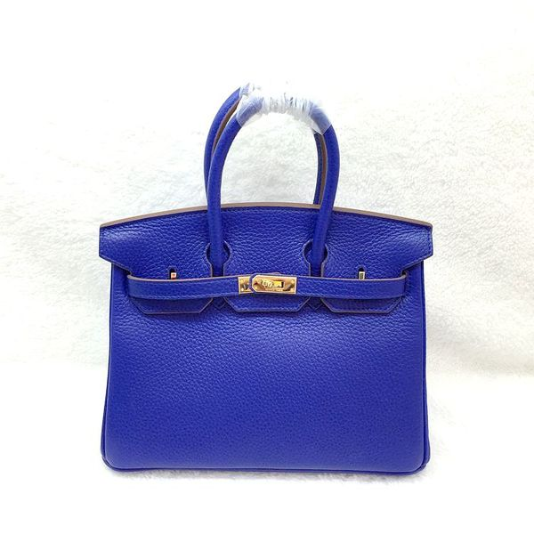 Hermes Birkin 25CM Tote Bag Original Leather H25 Brilliant blue