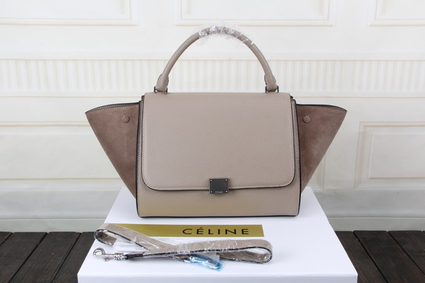 Celine litchi grain with nubuck leather tote bag 3342 apricot