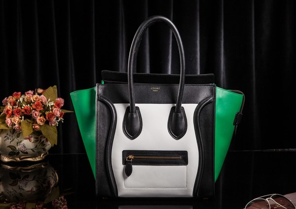 Celine Luggage Tote Bag Original Leather 3308 White&Black&Green