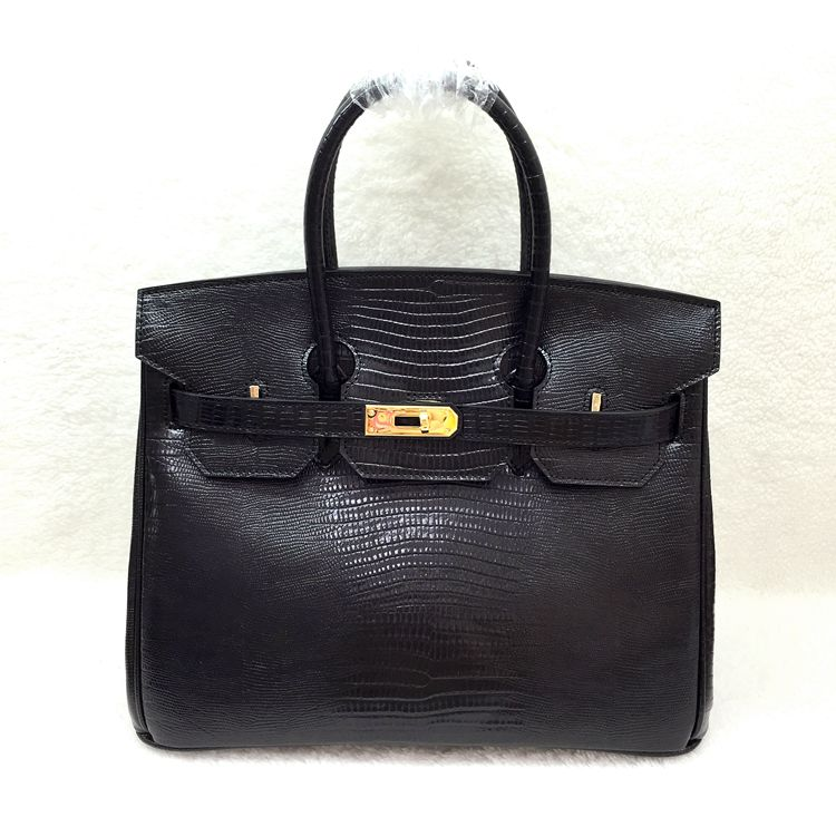 Hermes birkin 30cm lizard leather tote bag H30 black