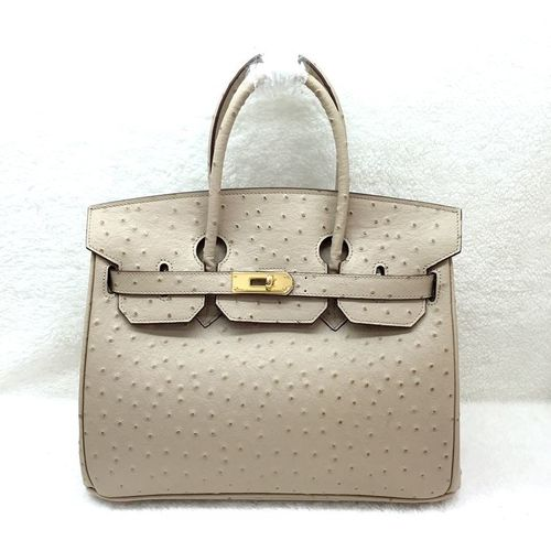 Hermes birkin 30cm ostrich leather tote bag H30 apricot