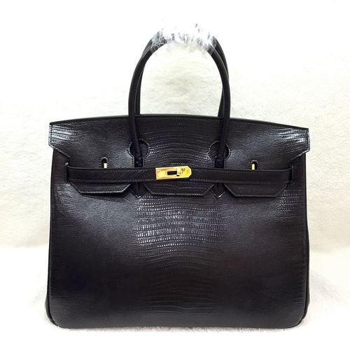 Hermes birkin 35cm lizard leather tote bag H35 black