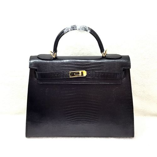 Hermes kelly 32cm lizard leather tote bag H32 black