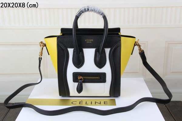 34ea7a6b8214 Celine luggage nano bag original leather 3308 white black yellow