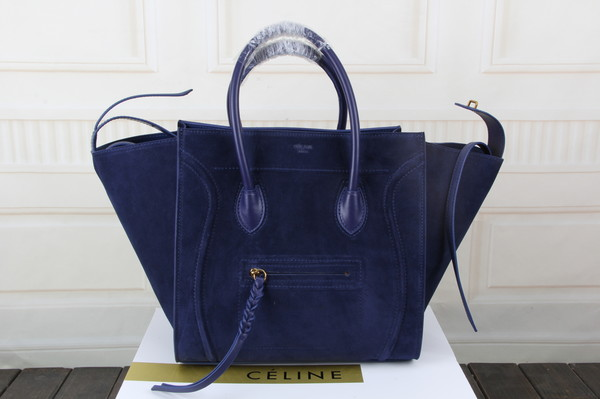 Celine luggage phantom tote bag suede leather 3341 royal blue