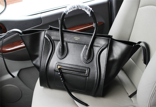 Celine luggage phantom tote bag smooth leather 103 black