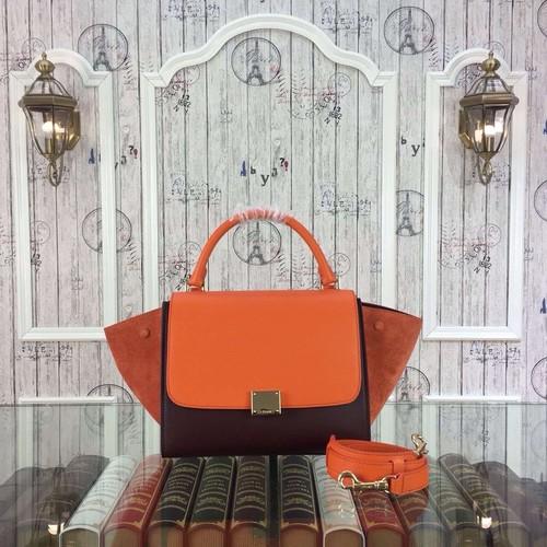 Celine Trapeze Bag Original Nubuck Leather 3345 Orange&Burgundy