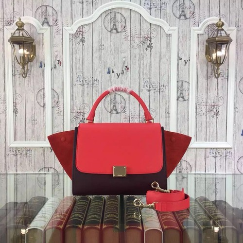 Celine Trapeze Bag Original Nubuck Leather 3345 Red&Burgundy