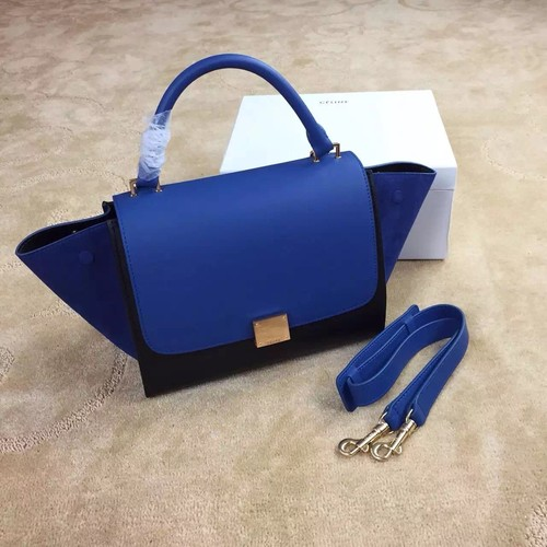 Celine Trapeze Bag Original Nubuck Leather 3345 Royal Blue&Black
