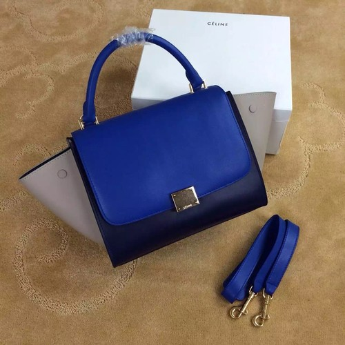 Celine Trapeze Bag Original Nubuck Leather 3345 Royal Blue&Black&Khaki
