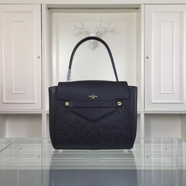 Louis Vuitton original leather embossing tote bag 50438 black