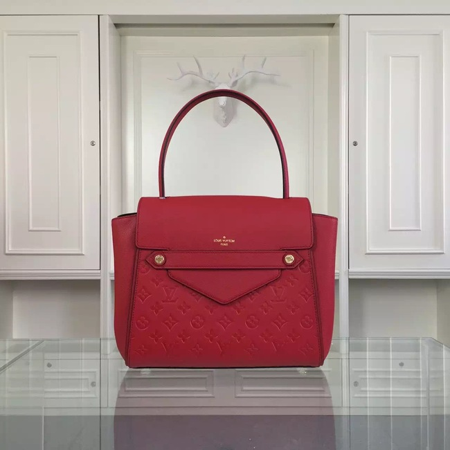 Louis Vuitton original leather embossing tote bag 50438 red