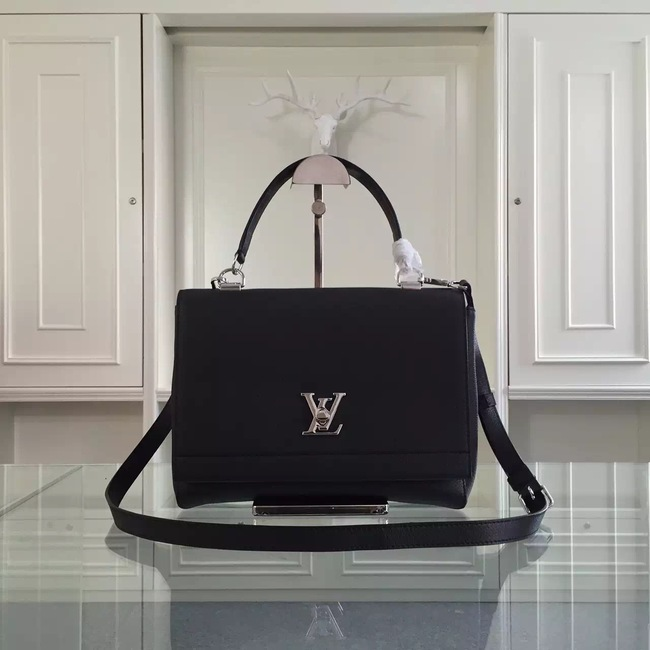 Louis Vuitton original litchi leather tote bag 50250 black