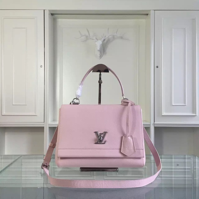 Louis Vuitton original litchi leather tote bag 50250 pink