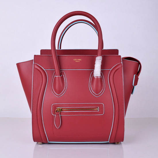 Celine Luggage Micro Boston Bag Original Leather 8802-3 Burgundy 177aec19ec6ce