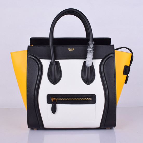 Celine Luggage Tote Bag 88022 Black&White&Yellow