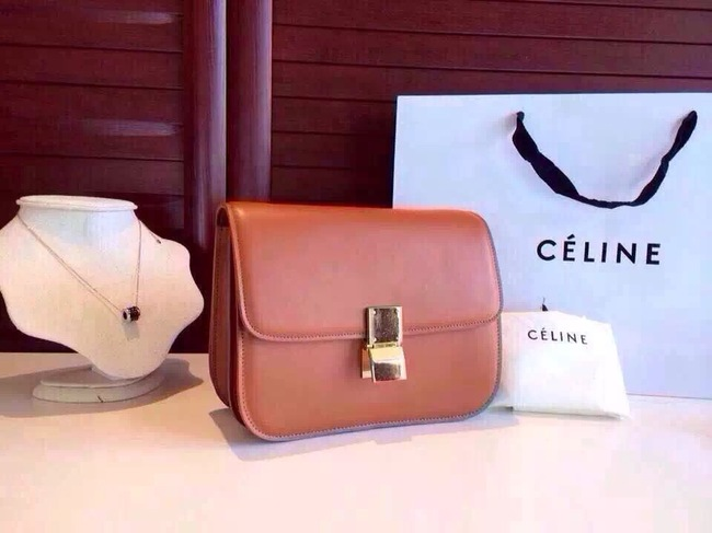 Celine Classic Box Flap Bag Calfskin Leather 2263 Light Brown