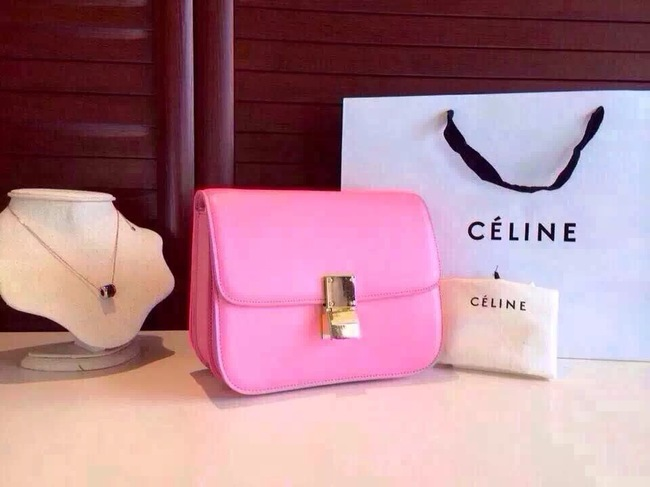 Celine Classic Box Flap Bag Calfskin Leather 2263 Pink