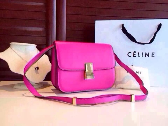 Celine Classic Box Flap Bag Calfskin Leather 2263 Rose