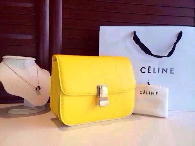 Celine Classic Box Flap Bag Calfskin Leather 2263 Yellow