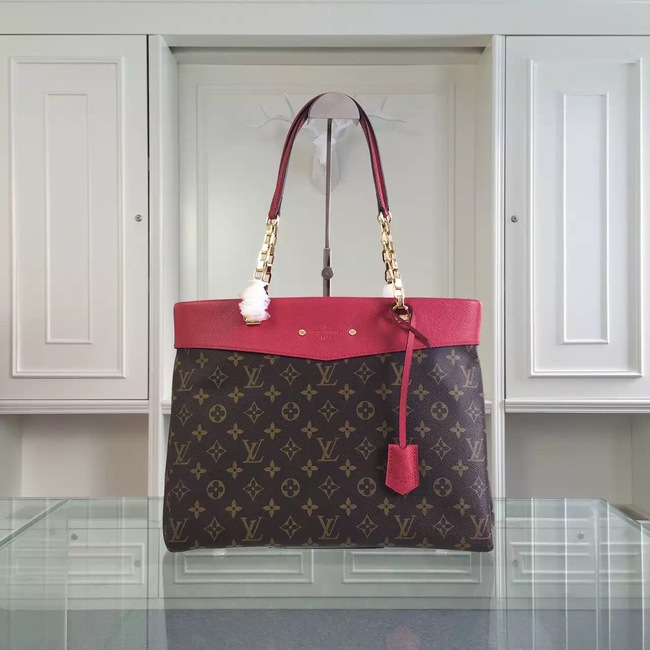 Louis Vuitton Monogram Canvas Pallas Shopper M51197 Red