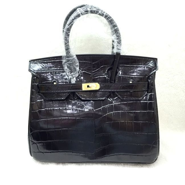 Hermes Birkin 25CM Tote Bag Croco Leather H8096 Black