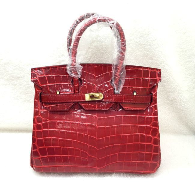 Hermes Birkin 25CM Tote Bag Croco Leather H8096 Red
