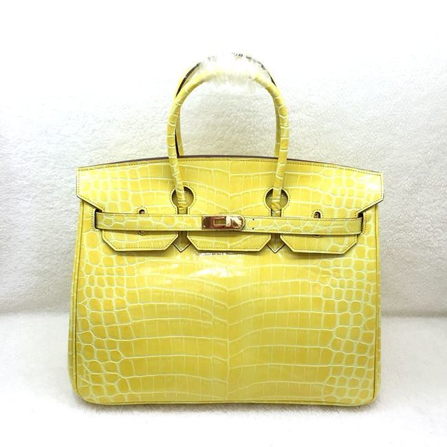 Hermes Kelly 35cm Tote Bag Croco Leather K35 Yellow