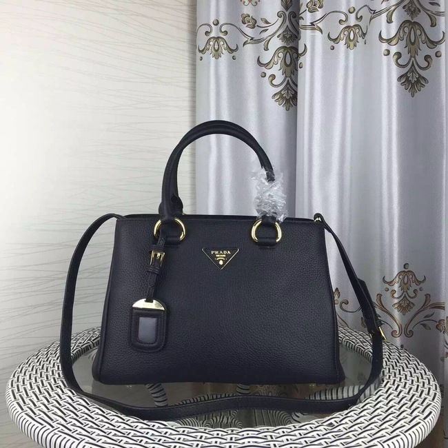 Prada Double Tote Bag Litchi Leather 1579 Black