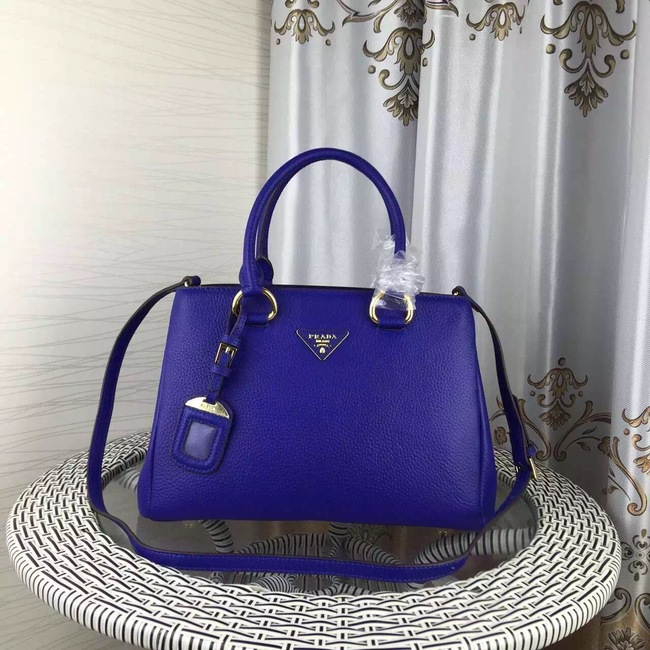 Prada Double Tote Bag Litchi Leather 1579 Blue