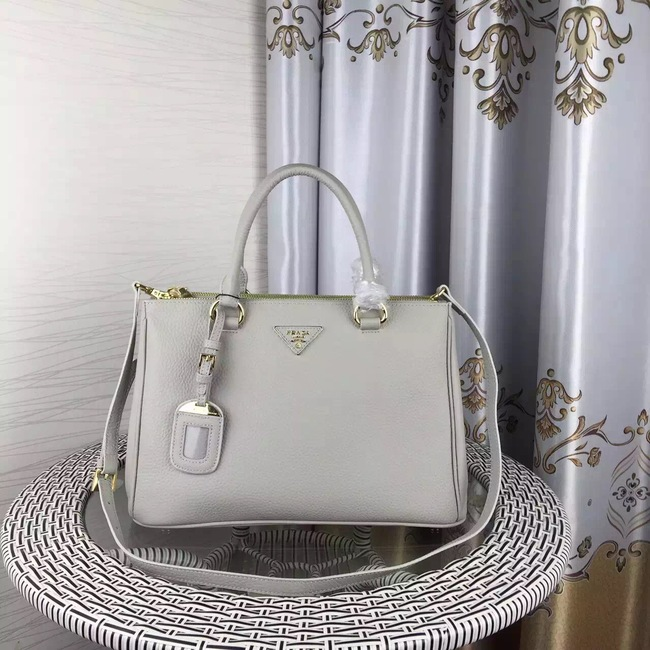 Prada Double Tote Bag Litchi Leather 1579 Grey