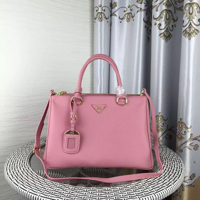 Prada Double Tote Bag Litchi Leather 1579 Pink