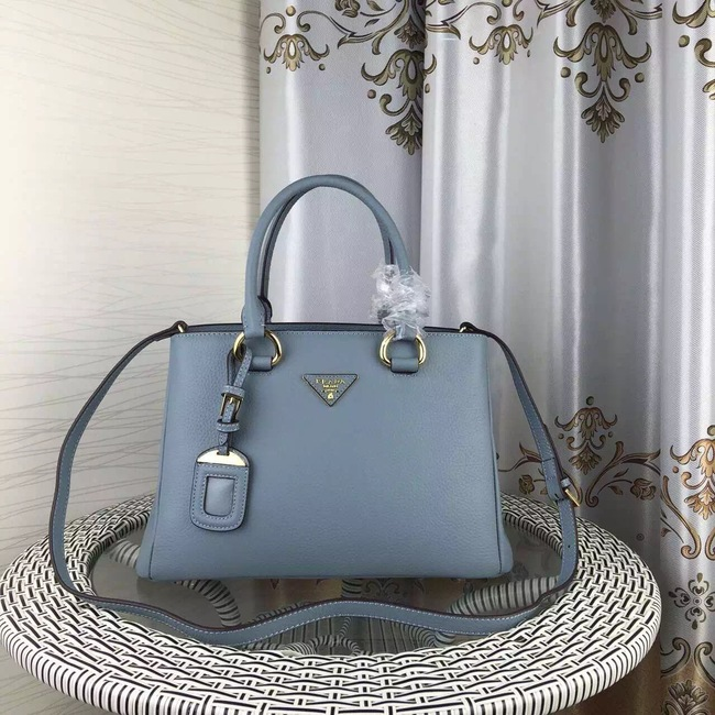 Prada Double Tote Bag Litchi Leather 1579 Light Blue
