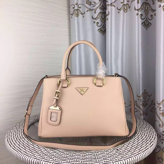 Prada Double Tote Bag Litchi Leather 1579 Light Pink