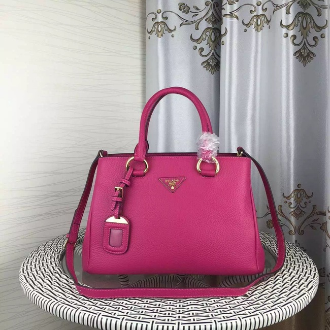 Prada Double Tote Bag Litchi Leather 1579 Rose