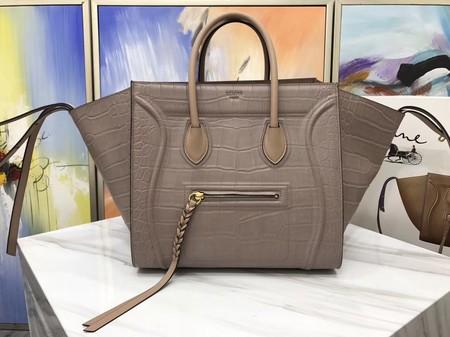 54a8b9a473 Celine LUGGAGE PHANTOM Tote Bag C3372 Croco Leather Apricot