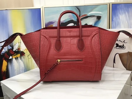 Celine LUGGAGE PHANTOM Tote Bag C3372 Croco Leather red