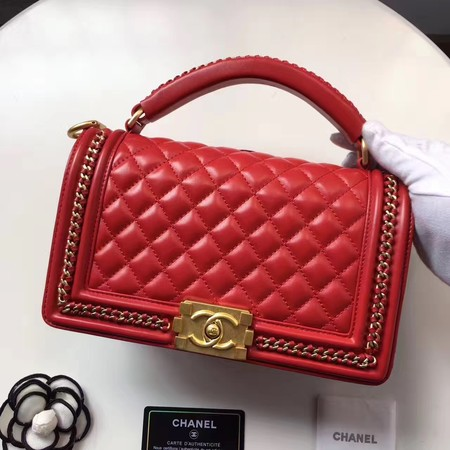 Chanel Sheepskin Leather Shoulder Bag 94804 red