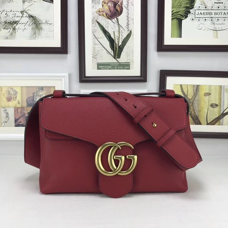 Gucci GG Marmont Leather Shoulder Bag 401173 red