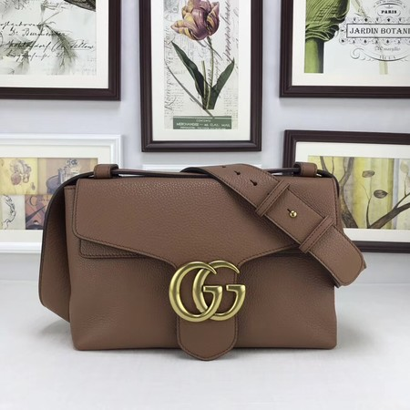 Gucci GG Marmont Leather Shoulder Bag 401173 Brown