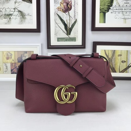 Gucci GG Marmont Leather Shoulder Bag 401173 wine