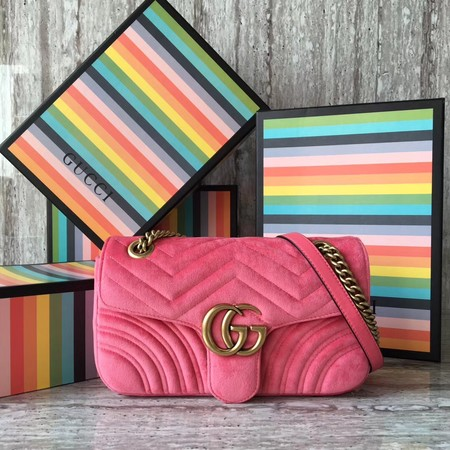 Gucci GG Marmont Velvet Shoulder Bag 443497 pink