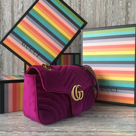 Gucci GG Marmont Velvet Shoulder Bag 443497 purple